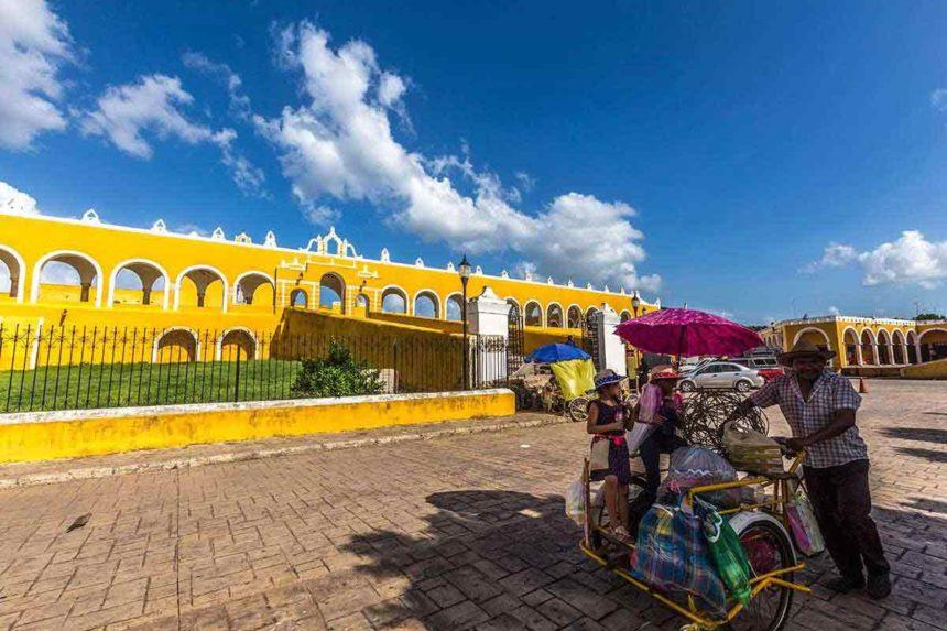 the monastery of Izamal and a local vendor