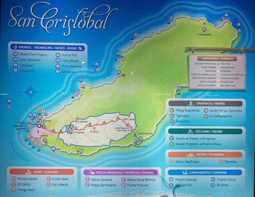 San Free things to do in Cristobal Galapagos map