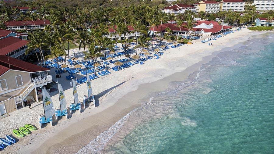 Hotel aerial view of the beach and rooms
