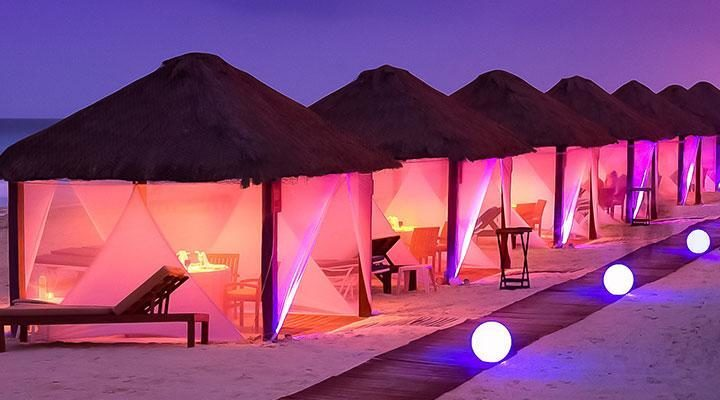 hotel on the beach in cancun at night