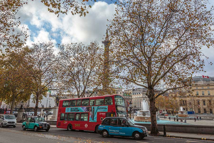 red buses and cab in london