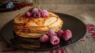 pancakes and raspberry