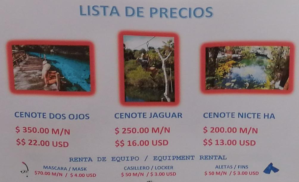 price list entry only dos ojos