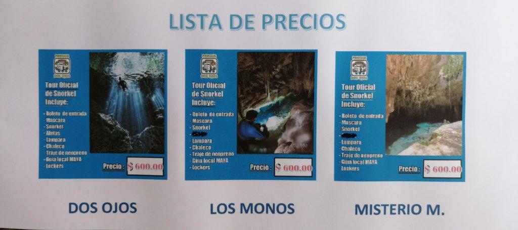 price list of the tours in dos ojos