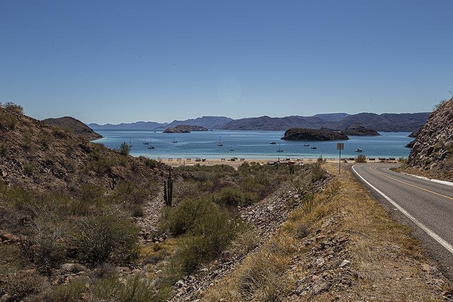 view of a beach from the road