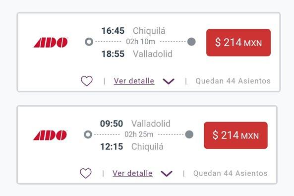 Valladolid bus schedule from and to Chiquilà