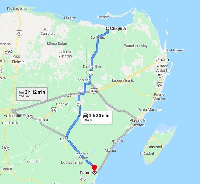 Holbox Tulum map