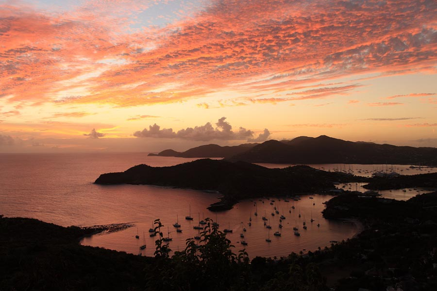 sunset over English Harbour bay in Antigua
