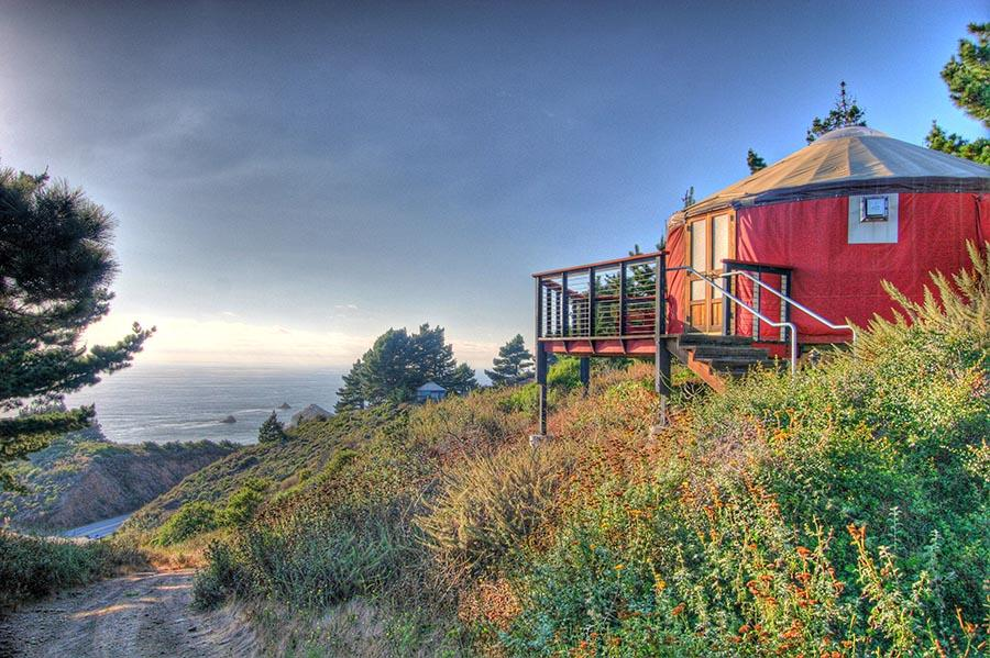 panoramic view of the yurt and landscape