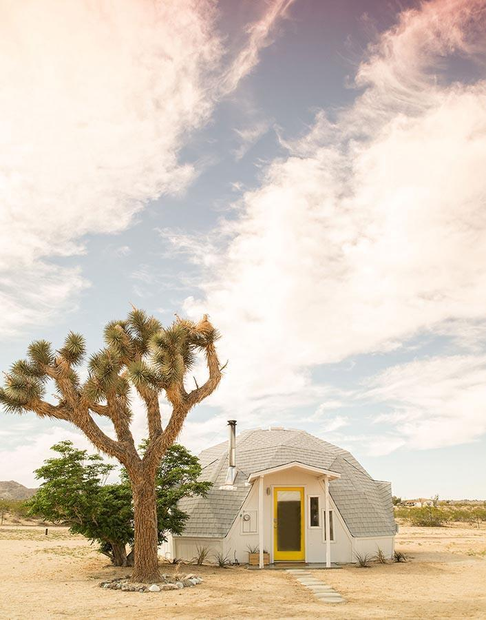 dome house by a joshua tree in the desert