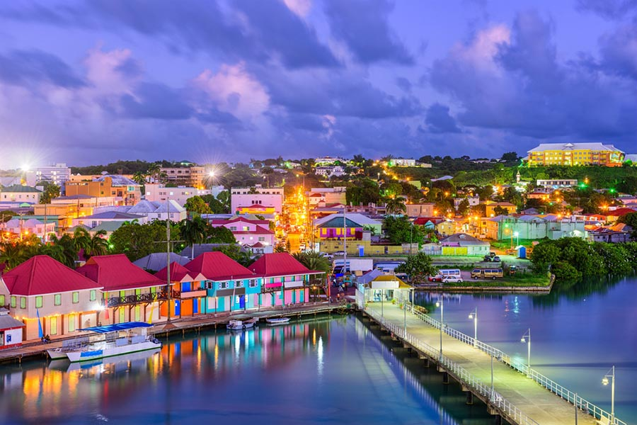 Antigua colorful historical town and harbor