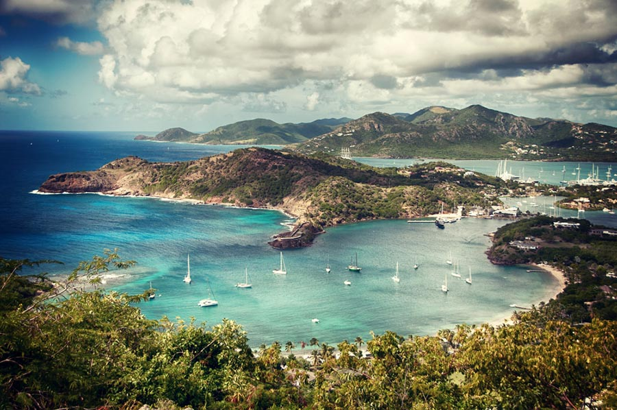 overview of the English Harbour bay in Antigua and barbuda