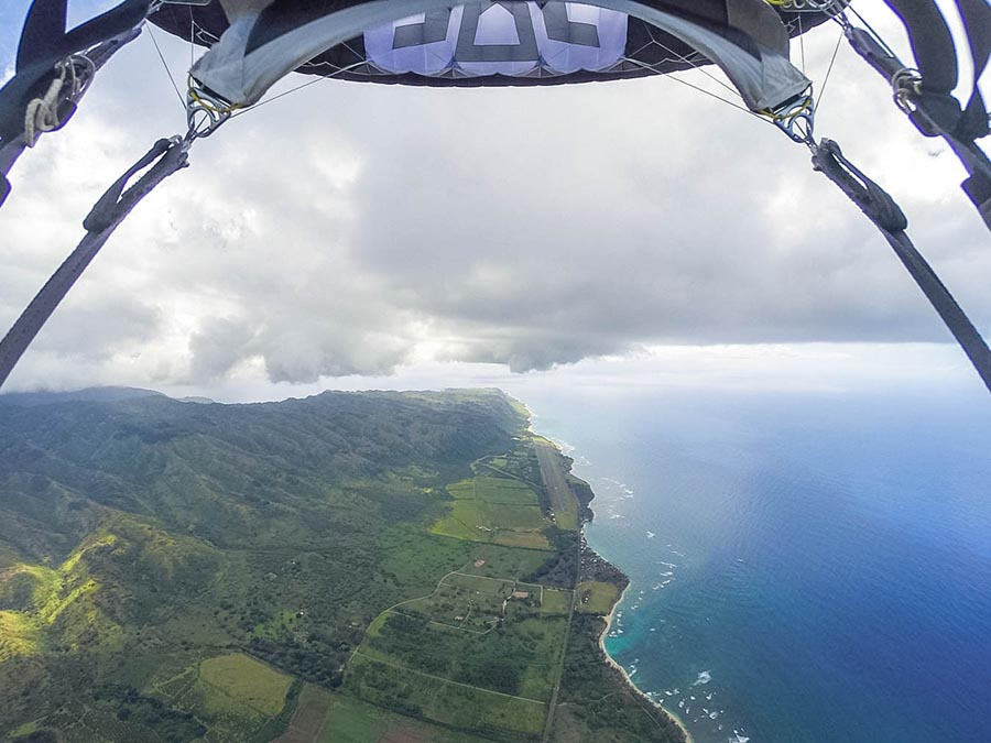 scenic view of the coast and mountains from skydiving