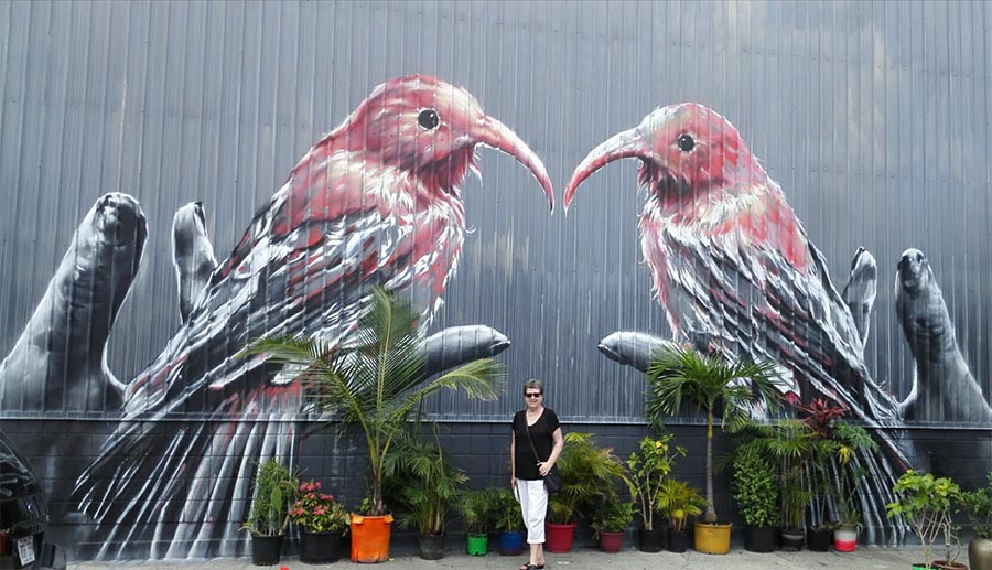 pink and grey birds painted on a wall as a background of a woman posing