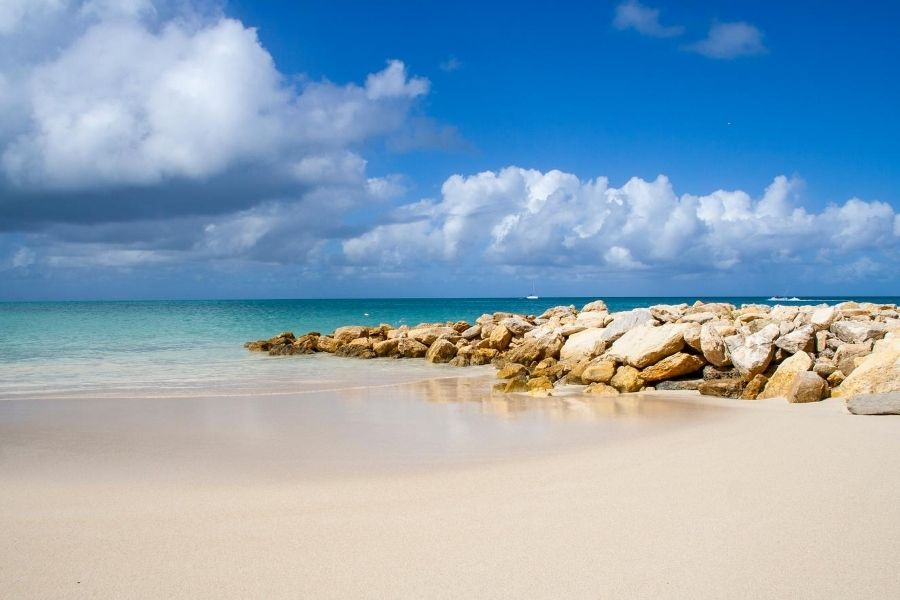 Deserted beach blue sky