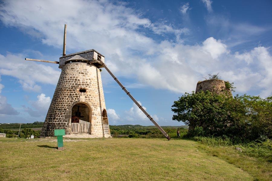 Windmill in a gren field