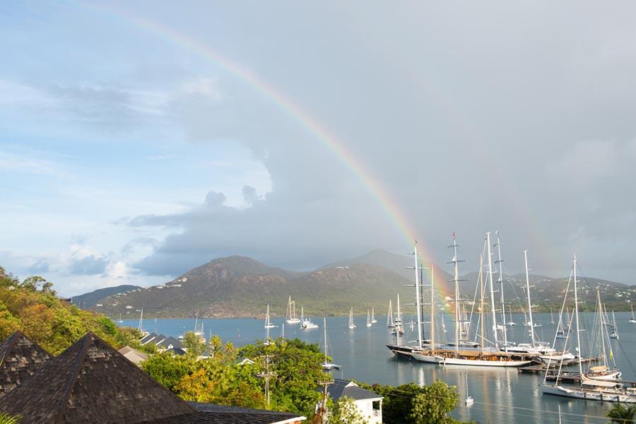 Rainbow over a harbor