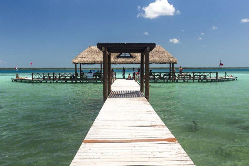 boardwalk  and platform on a lake
