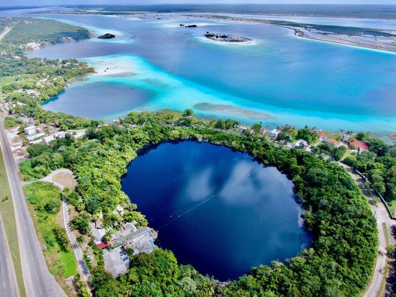 bacalar lagoon aereal view