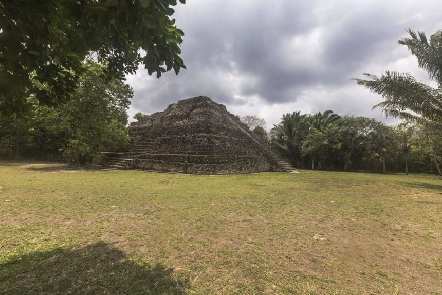 ancient Mayan temple in a tropical garden