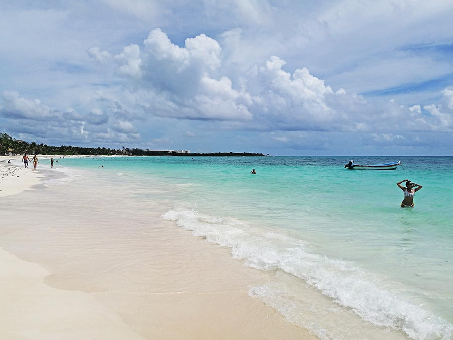 blue ocean and cloudy sky- Beaches of the Riviera Maya