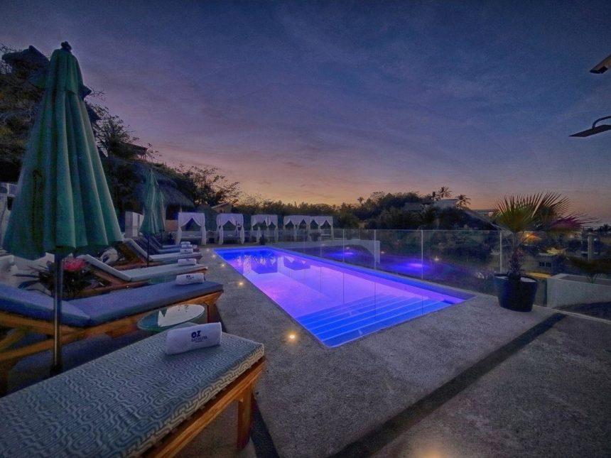 OZ hotel pool at night