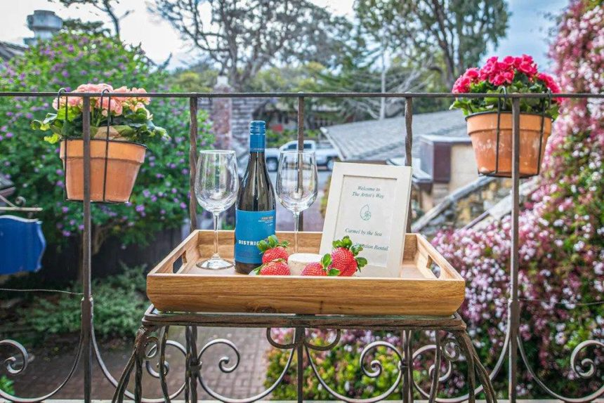 balcony with wine
