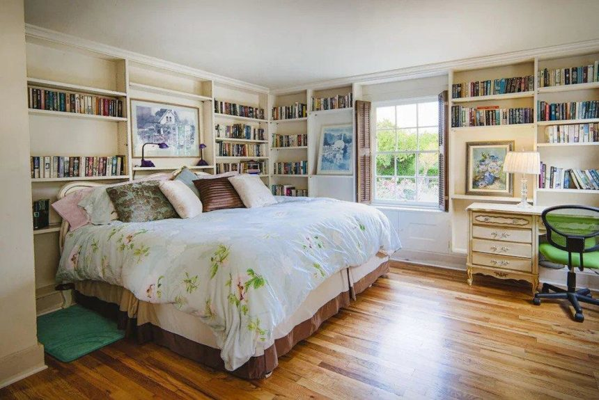 family house luxury master bedroom with wooden floor