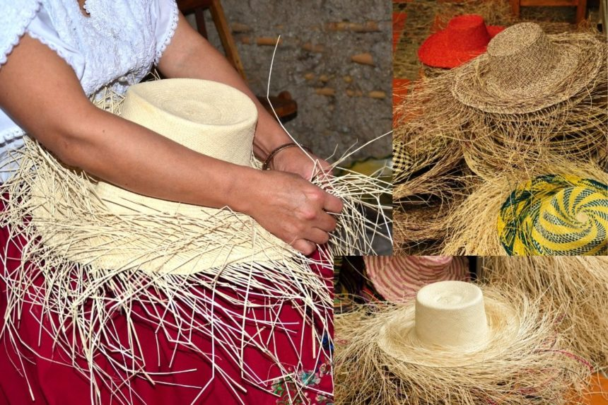 Woman weaving a Panama hat surrounded by other hats