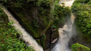waterfall surrounded by jungle