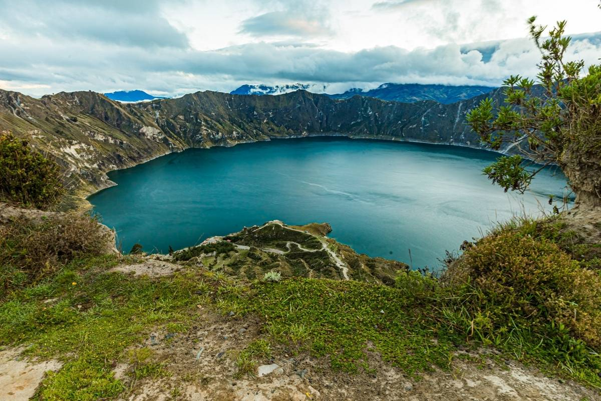 crater lake with green blue water