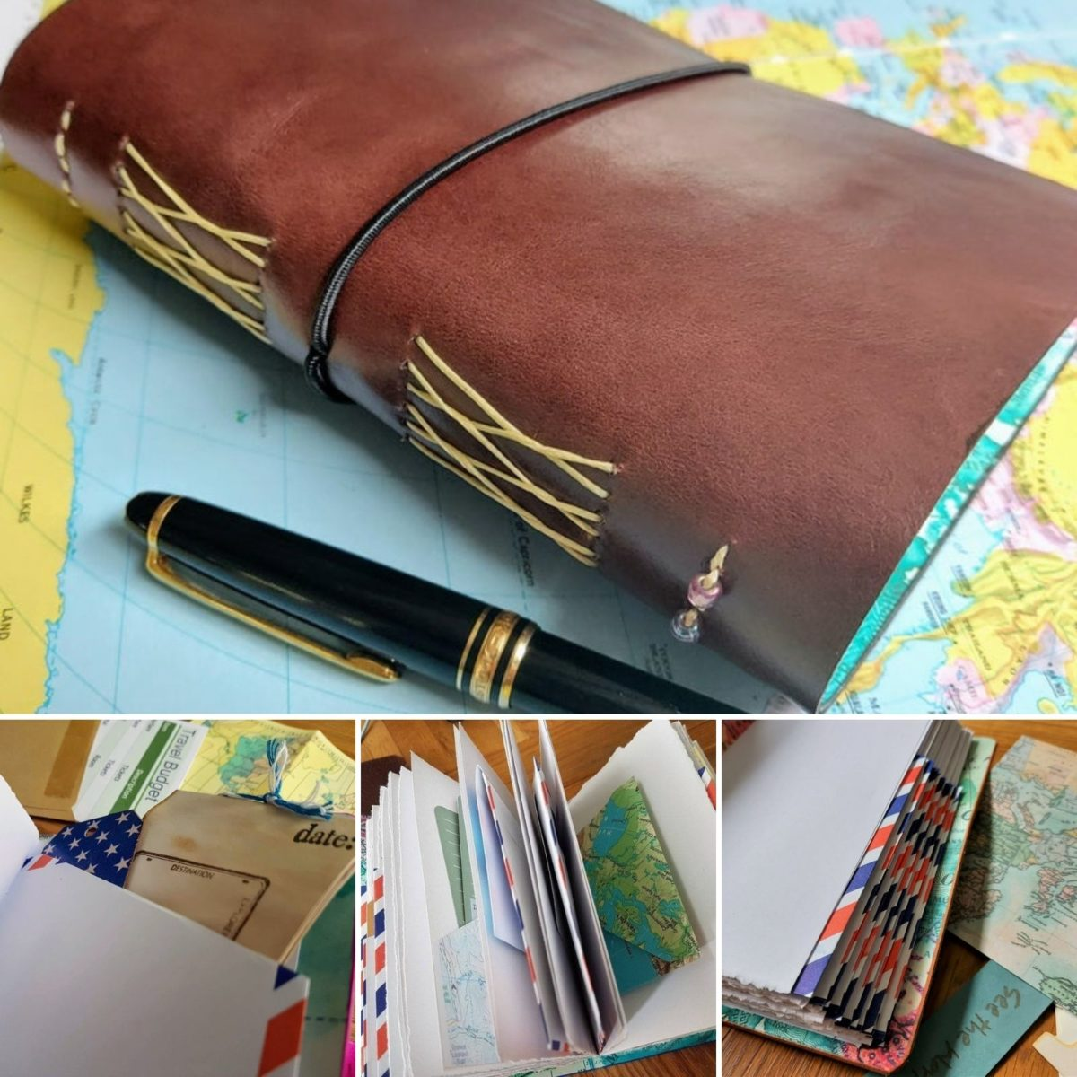 Travel journal with envelope pockets and inserts A6 Leather | Etsy