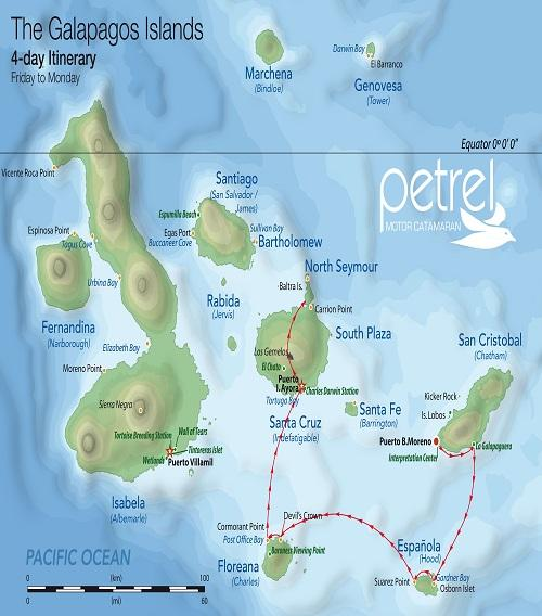 Galapagos islands map and 4 day cruise itinerary south