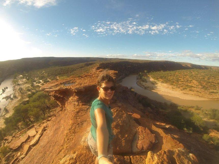 girl taking a selfie on a mountain