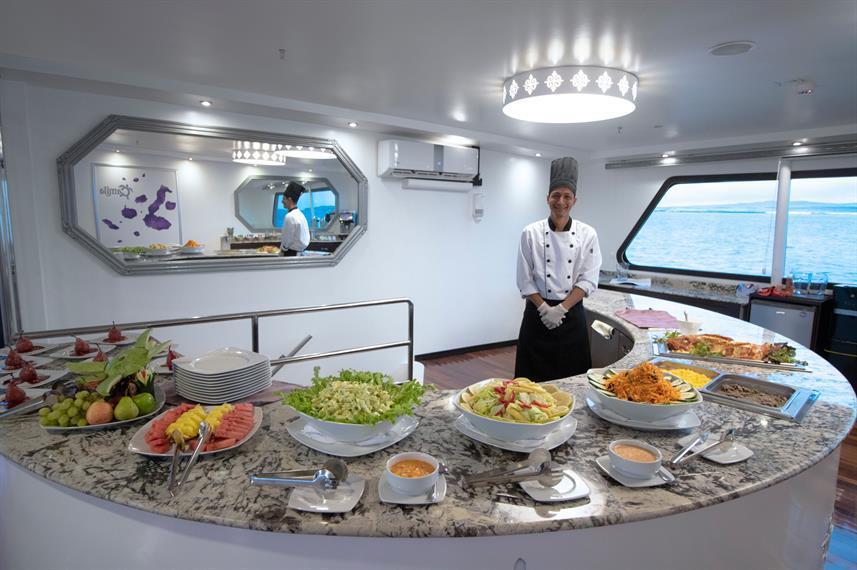 buffet on the Camila luxury cruise