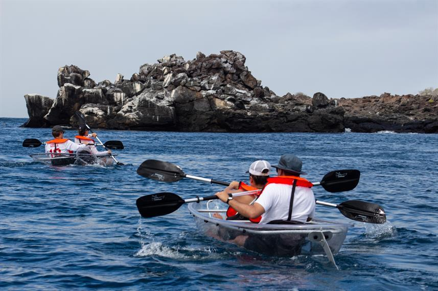 kayaking in a bay in the Galapagos islands