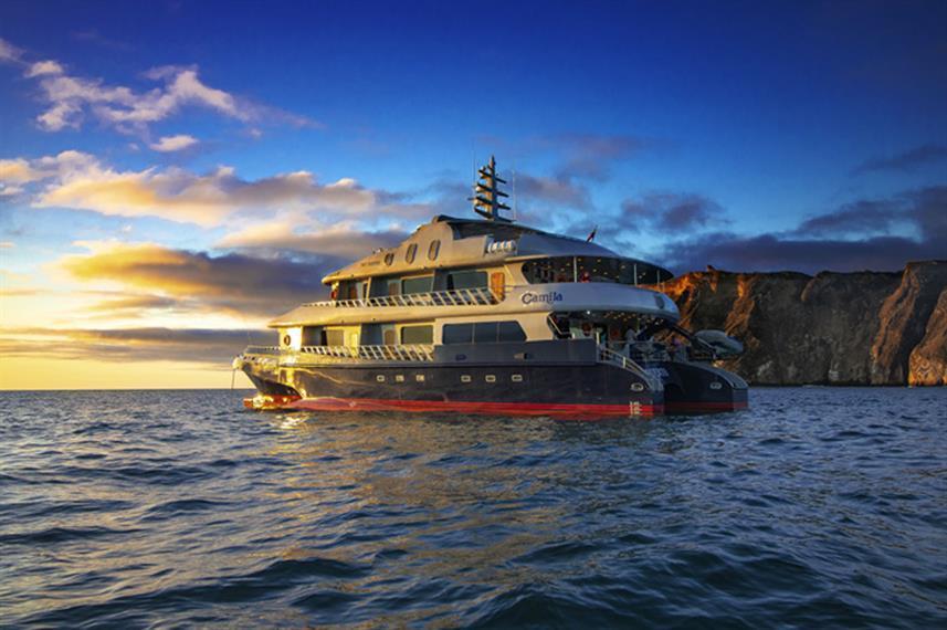 cruise ship Camila at sunset