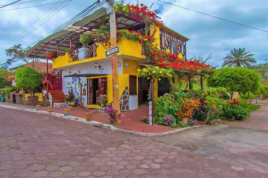 casa del lago hotel surrounded by flowers with yellow walls and a terrace