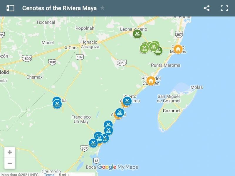 map of the cenotes of the riviera maya