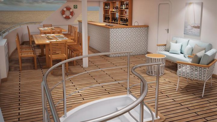 restaurant of a catamaran