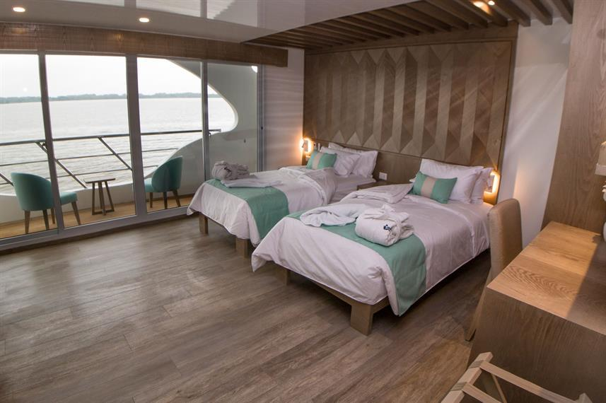 luxury boat cabin with two beds