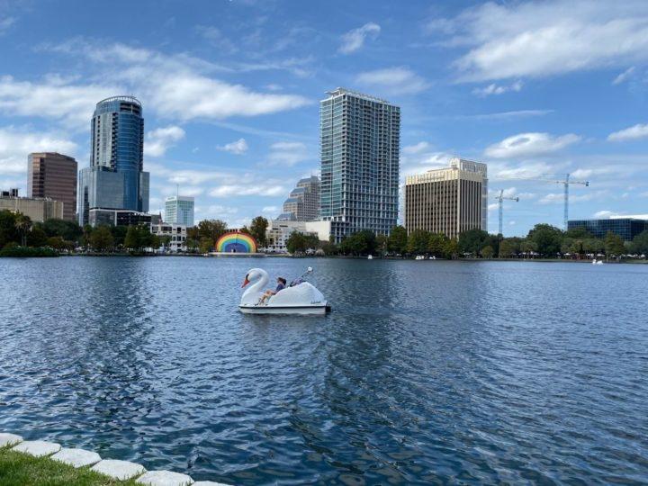 Eola Lake - Orlando with skyline in the background