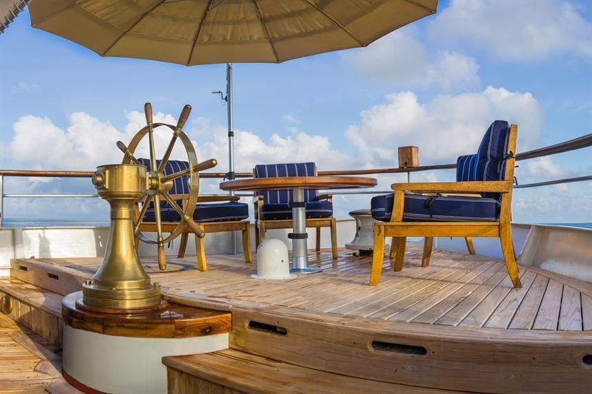 external deck on Grace boat Galapagos island