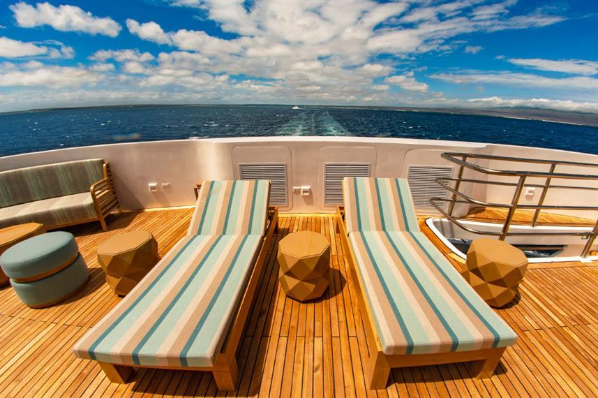 sky deck of a luxury boat in the Galapagos