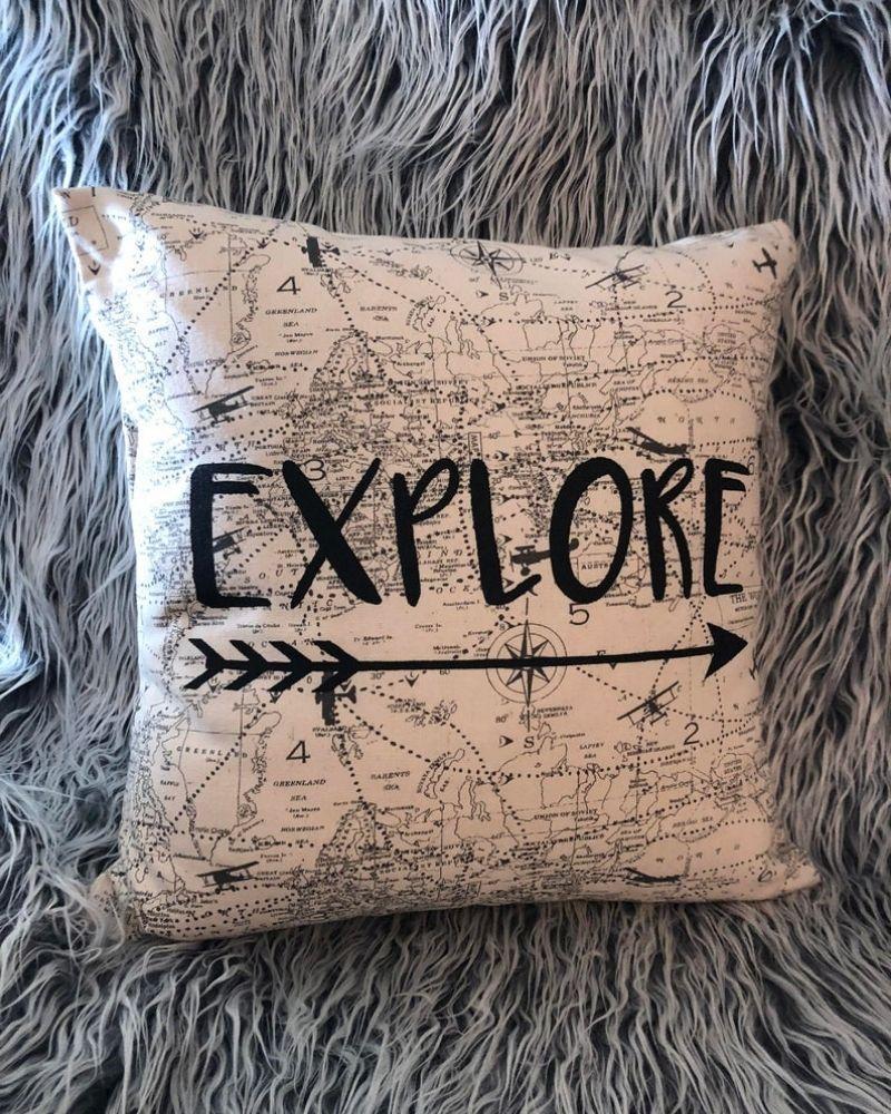 Explore Arrow Decorative Adventure Airplane Pillow Cabin | Etsy