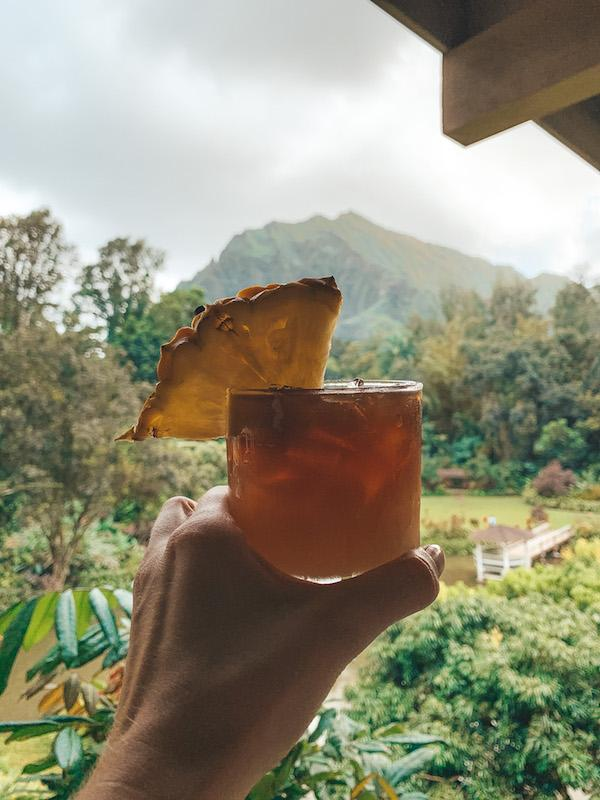 Girl holding a cocktail with mountain views