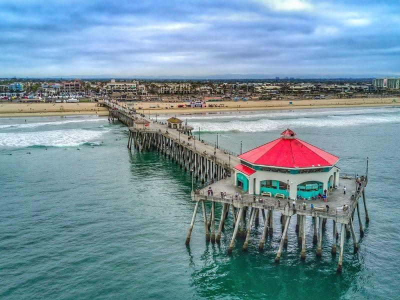 Huntington Beach pier with a red roof