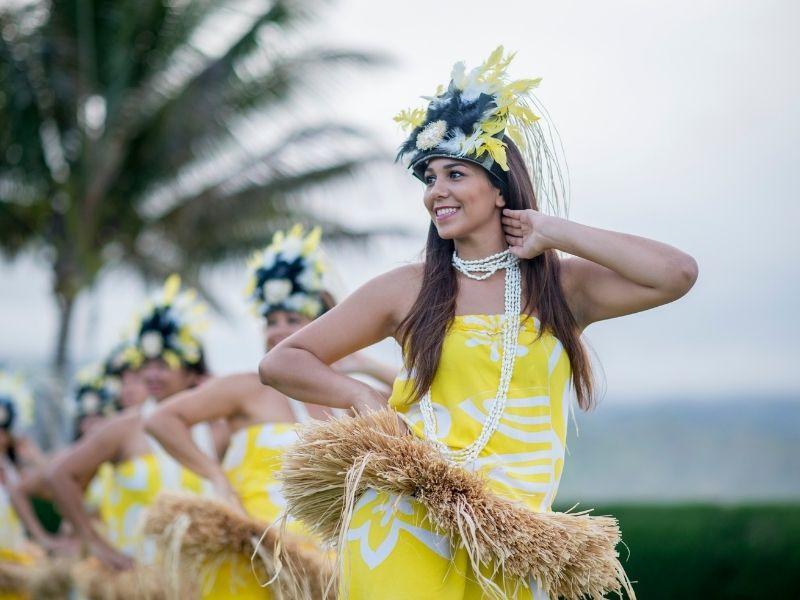 girl dancing in Hawaiian custom