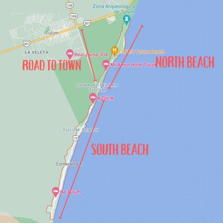 Tulum beach map