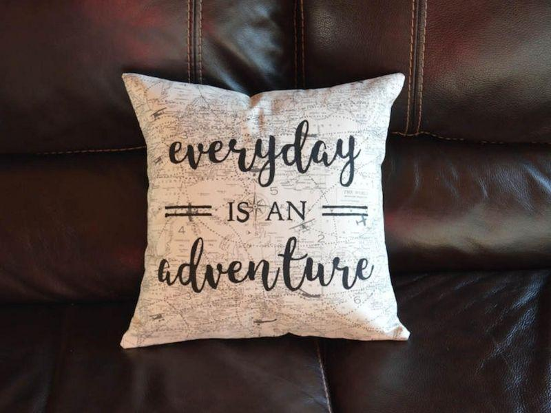Everyday is an Adventure Travel Quote Pillow Airplane | Etsy
